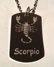 Zodiac Signs Sign Scorpio Scorpion Logo Dog Tag Metal Chain Necklace Fashion New