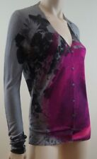 CHRISTOPHER KANE RUNWAY Grey Black Pink Floral Silk Long Sleeve Cardigan M BNWT