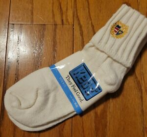 NWT Womens Vintage 1982 KEDS White Cuff Socks w/Logo Made In USA *Size 9-11 NEW