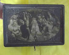 ANCIEN Coffret Métal Scène Ecclésiastique ALSA Clé Vintage 1950. 30x20x7cm