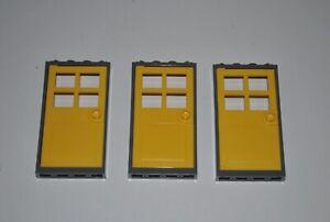Lego 1x4x6 Yellow Door, Dark Grey Frame 3pcs