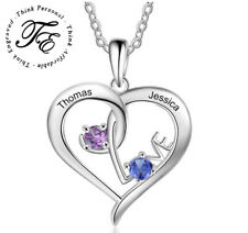 Personalized Mother's Necklace 2 Stone 2 Name Open Heart Mothers