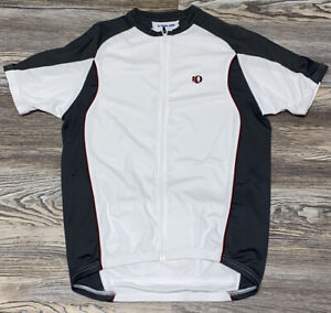 PEARL iZUMi Cycling Jersey Men's L Large Race Fit, White Gray Maroon Bike