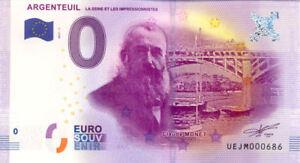 95 ARGENTEUIL Claude Monet, 2017, Billet Euro Souvenir