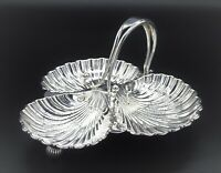 VINTAGE SILVER PLATED SCALLOPED TREFOIL SERVING CANOPE DISH TRAY WITH HANDLE