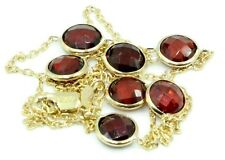 Garnet 15 Inches Round Necklace,14k Yellow Gold