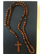 Wood And Rope Brown Rosary Made In Italy