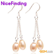 Natural Freshwater Pearl Drop Dangle Hook Earrings Silver Plated Jewelry Gifts