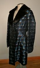 NINE WEST SILK TAPESTRY FAUX FUR MINK FUR COAT JACKET M GOTHIC BLUE STEAMPUNK