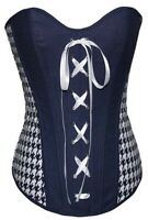 Cute Overbust Corset Fashion Top Navy White Houndstooth Print New DTS00784