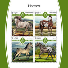 Solomon Isl 2017 MNH Horses Appaloosa Buckskin Pearl Andalusian 4v M/S Stamps