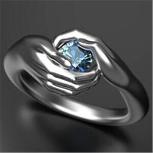 Fashion 925 Silver Rings for Women Round Cut Aquamarine Wedding Jewelry Size 8