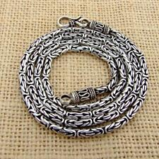 "925 Sterling Silver Bali Byzantine Borobudur Necklace Chain 3mm 26.5"" Inch 42.1g"