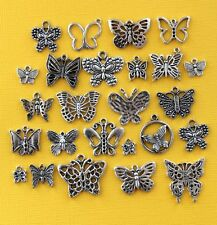 Butterfly Deluxe Charm Collection 25 Silver Tone Charms FREE Shipping E47