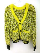 RAG & BONE Viola Cardigan V-Neck Sweater Neon Yellow Pockets Cotton Sz Small