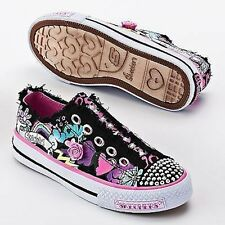Skechers Pixie Dust Black Pink Flower Shuffles Shoes New Slip on Jeweled charm