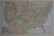 Original 1901 Map UNITED STATES Indian Territory Forts Railroads Florida Texas