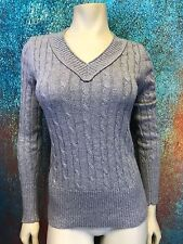 ANN TAYLOR LOFT Women's Size Small Gray Sparkle Cable Knit V-Neck Sweater