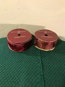 Jaclyn Smith Traditions Holiday Wire Trim Ribbon Burgundy and Gold Lot of 2