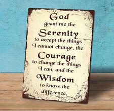 Decorative Metal freestanding hanging sign plaque Serenity Prayer quote 20x15cm