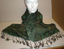Vintage Shawl - Cotton Silk? Paisleyesque Green Fronds Pattern (ref BC)