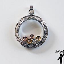 14K White Yellow Rose Gold Floating Happy Diamond Round Circle Pendant Necklace