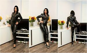 SEXY BLACK PVC VINYL FETISH CATSUIT WITH EYELETS DESIGN 22-30  UK New With Tags
