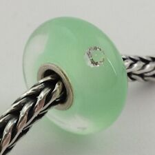 Authentic Trollbeads Glass Hope Mint Green W/ Cz Bead (Small)  81003, New