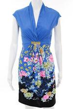 Roberto Cavalli Blue Floral Gold Tone Detail A-Line Dress Size Italian 44