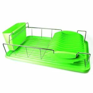 Stainless Steel + Plastic Dish Drainer With Drip Tray & Separate Utensil Holder