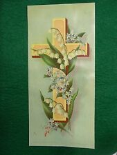 """Victorian Trade Card Easter True & Co Lily of the Valley Floral 4 1/2"""" x 9"""" XL"""