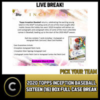 2020 TOPPS INCEPTION BASEBALL 16 BOX (FULL CASE) BREAK #A745 - PICK YOUR TEAM