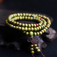 Buddhist Buddha Meditation Wood Prayer 6mm 108 Beads Mala Bracelet - Green