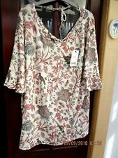 NWT~ Next~Ladies soft stretchy cream/floral tunic top short fluted sleeves sz.22