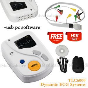 TLC6000 Dynamic ECG Systems 12-lead 48H ECG Holter Recorder Analyzer,USB PC SW
