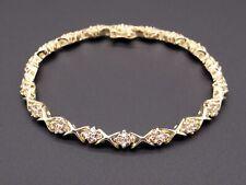 14k Yellow Gold 1.80ct Round Brilliant Cut Diamond Tennis X Link Bracelet 7 inch