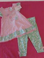 Swiggles Infant Girl 2-Piece Sping Outfit ~ Pink & Mint Green ~ New! Size 18 Mos