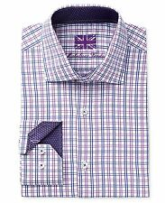 $280 MICHELSONS LONDON Men SLIM-FIT PURPLE BLUE WHITE CHECK BUTTON DRESS SHIRT M