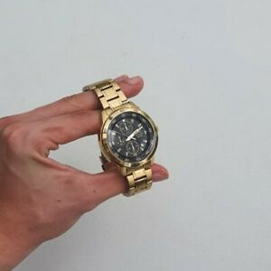 Seiko Chronograph 100M Gold Plated (Stainless Steel) Mens Solar Watch