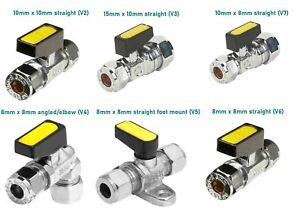 Mini Lever Chrome Gas Isolating Ball Valve Straight/Angled/Elbow/Foot Mount