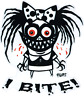 I Bite! STICKER Decal Funky Bow Girl Ghoul Eric Pigors PG60