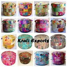 Indian Patchwork Round Ottoman Pouf Cover Floor Pillows Floor Boho Cushion Cover