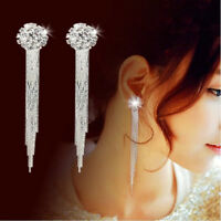 Dangle Drop Clip on Earrings Crystal Women Ladies Clip-on Silver Tassle Bridal C
