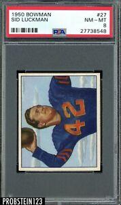 1950 Bowman Football #27 Sid Luckman Chicago Bears HOF PSA 8 NM-MT