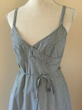 TALBOTS Petite Black White Dress Gingham Sundress Cotton Lined Rockabilly 6P