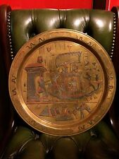Egypt 34.5 cm  Silver Copper Inlaid Brass Tray Plate Egyptian Ancient Figures