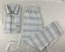 Ten West Apparel Men's Sleepwear Short Sleeve and Pajamas White Blue Plaid M