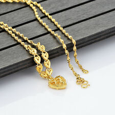 Yellow Gold Filled Heart Pendant Water Wave Chain Necklace Classic Korean