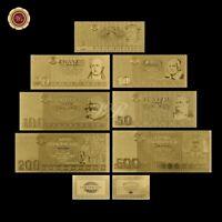 WR 24K GOLD German 1895 5 - 500 Marks Banknotes Set World Paper Money Collection