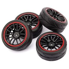1X(4pcs 12mm Hub Wheel Rims & Rubber Tires For RC 1/10 On-Road Touring DrifL9C6)